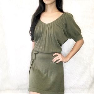 💎 LOFT OLIVE PLEATED SWEATER DRESS